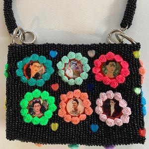 Handmade designer stunning purse Frida kahlo art